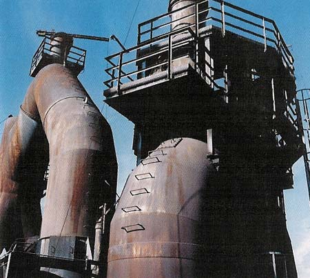 Blast furnace gas and wind pipes