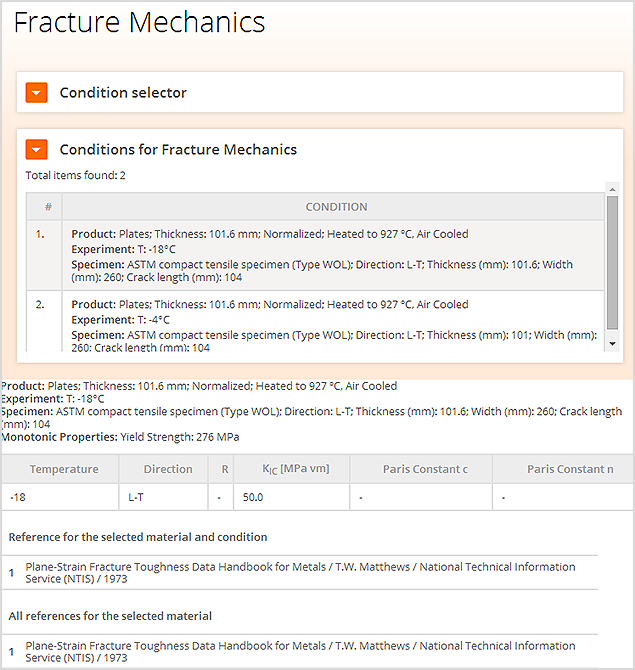 Viewing fracture mechanics data